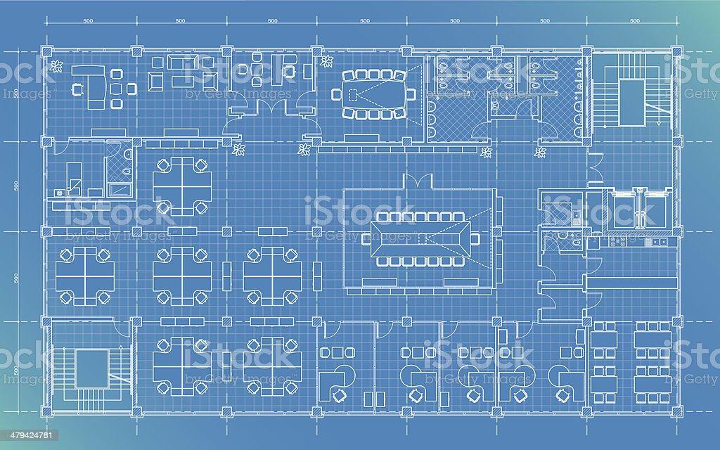 office building plan blueprint royalty-free stock vector art