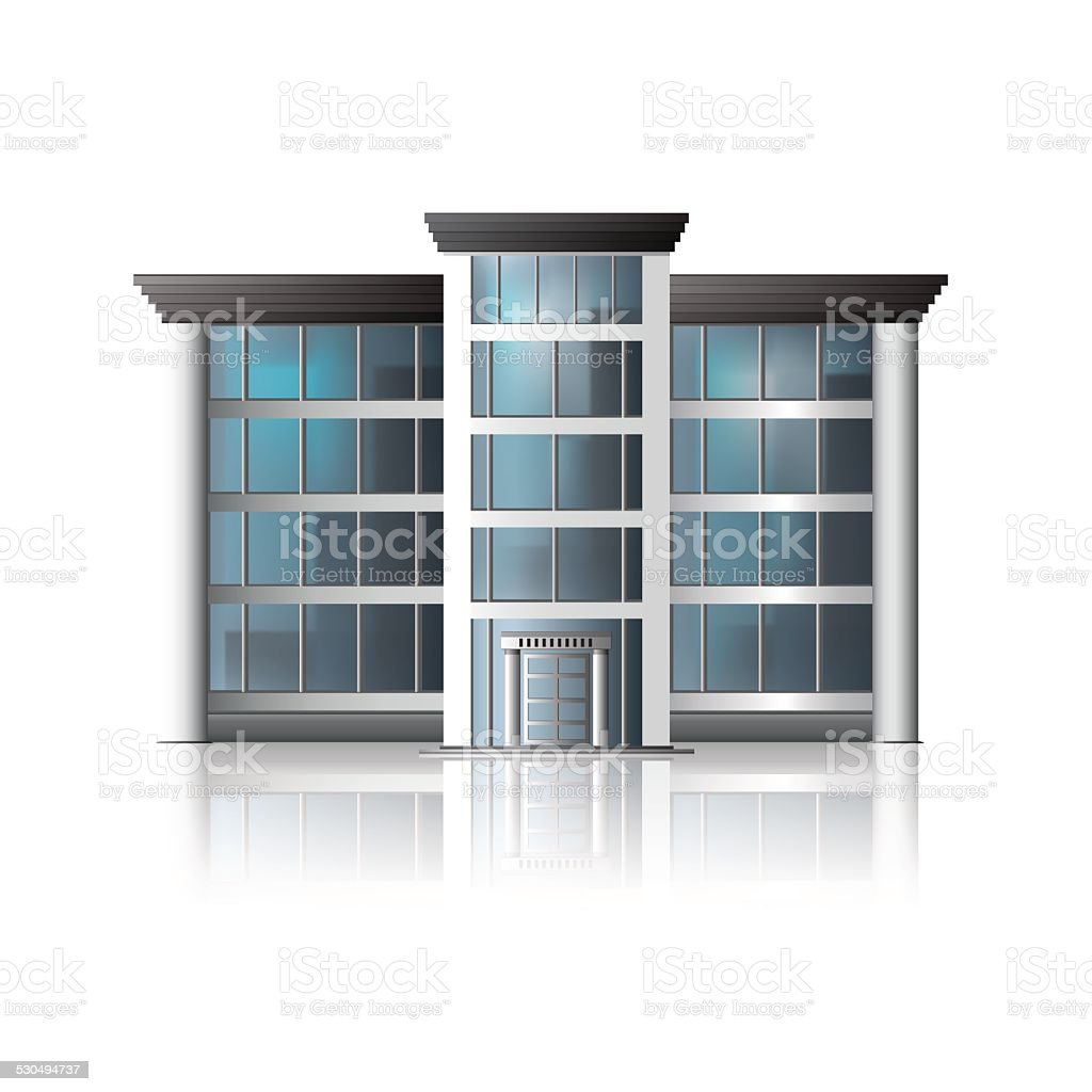 office building with entrance and reflection vector art illustration
