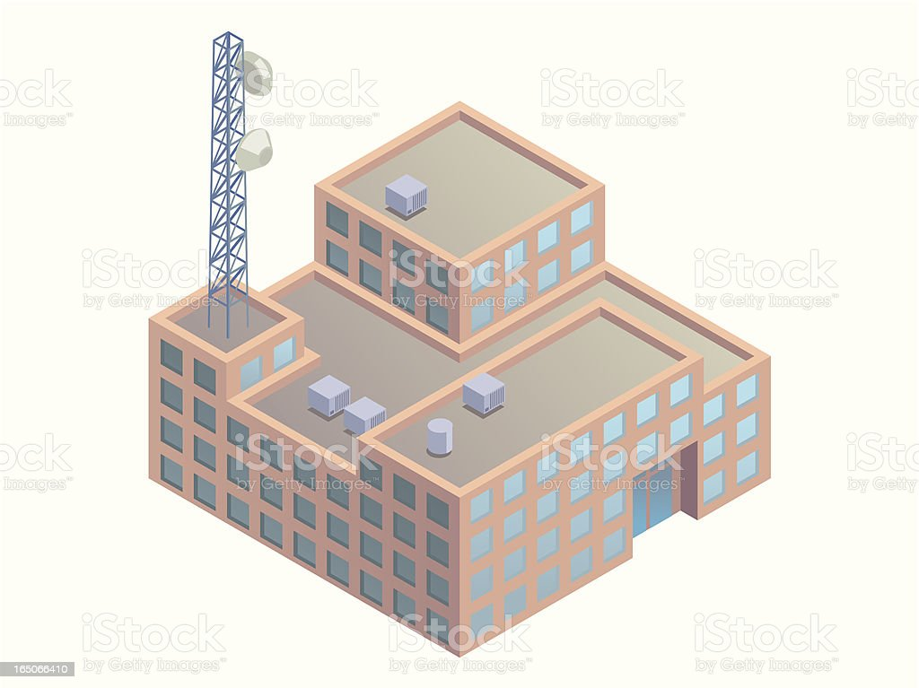 Office building with tower royalty-free stock vector art