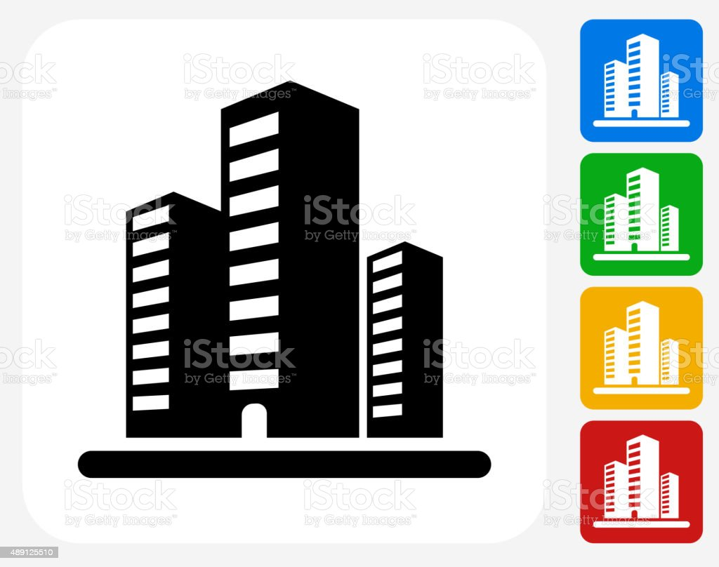 Apartment Building Graphic office buildings icon flat graphic design stock vector art