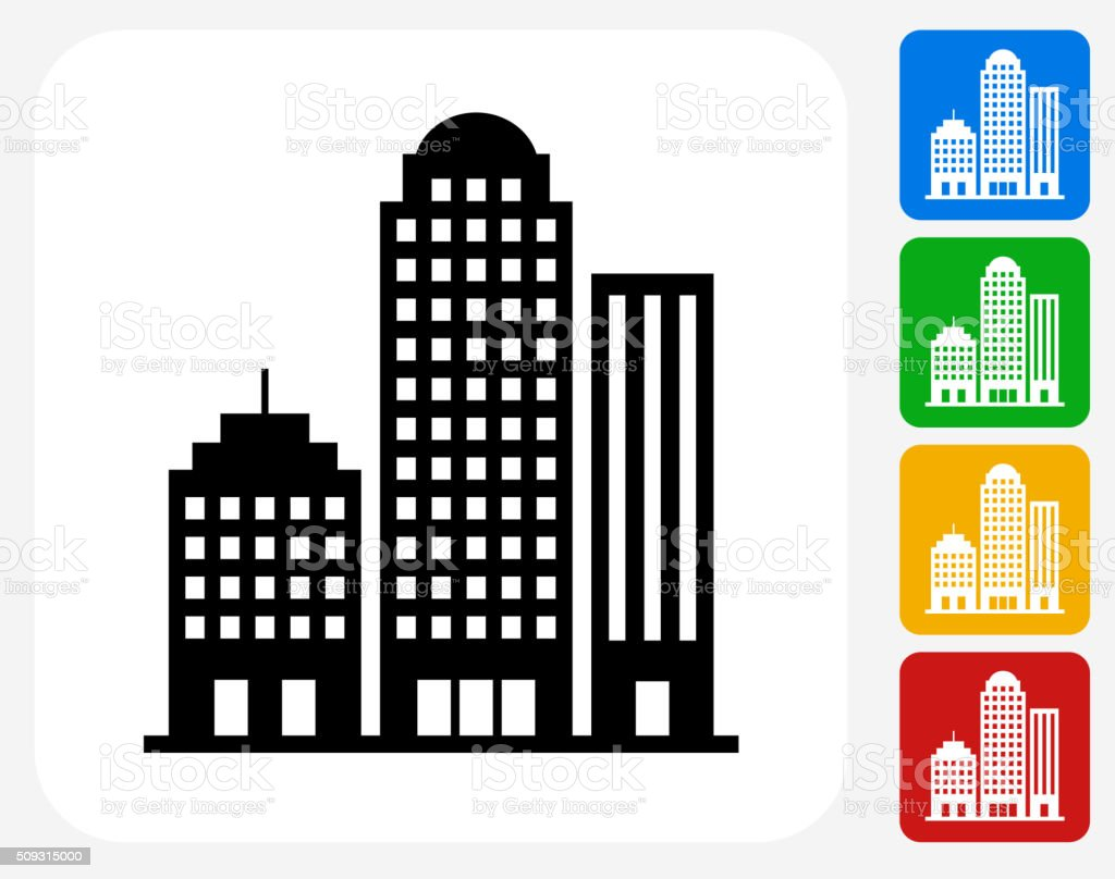 Office Buildings Icon Flat Graphic Design vector art illustration