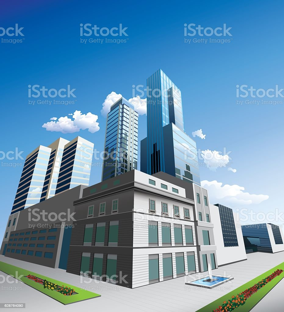 Office buildings vector art illustration