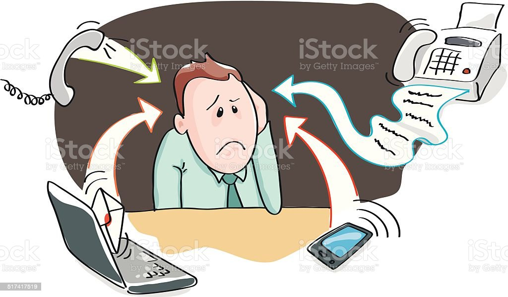 Office burnout - information overload by electronic devices vector art illustration