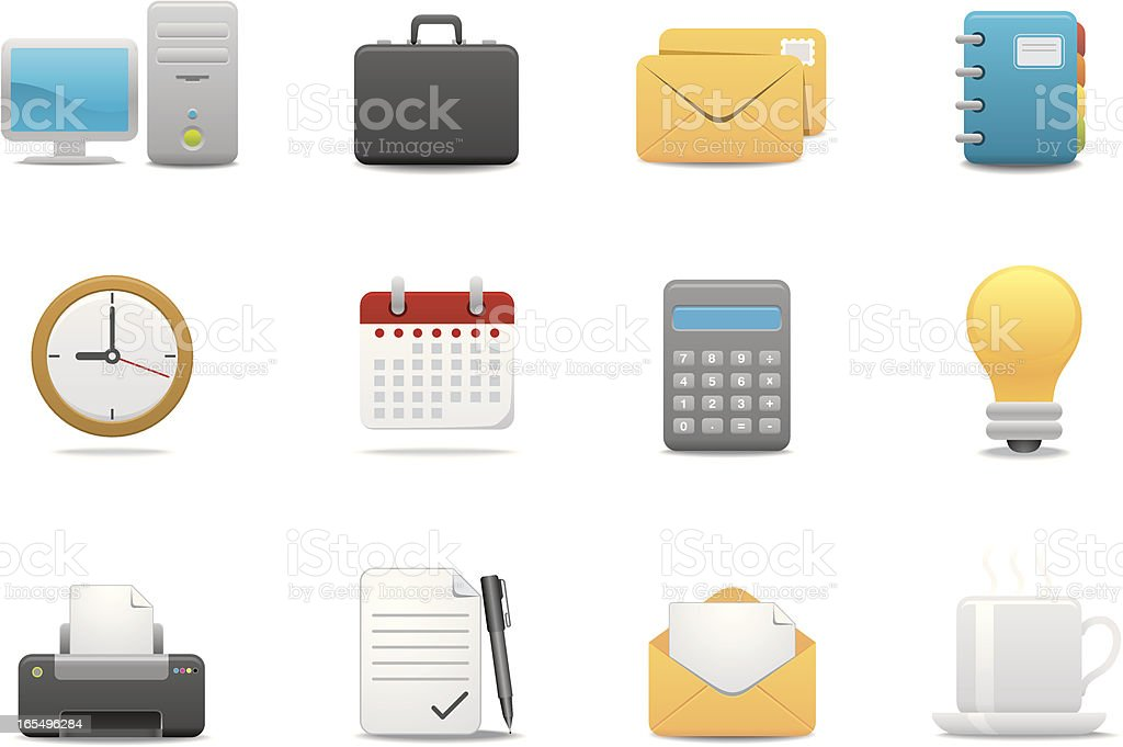 Office & Business icons 01 | Premium Matte series royalty-free stock vector art
