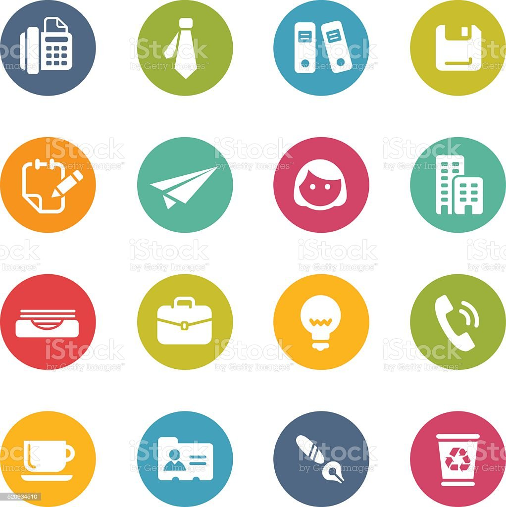 Office & Business Icons - Fresh Colors vector art illustration