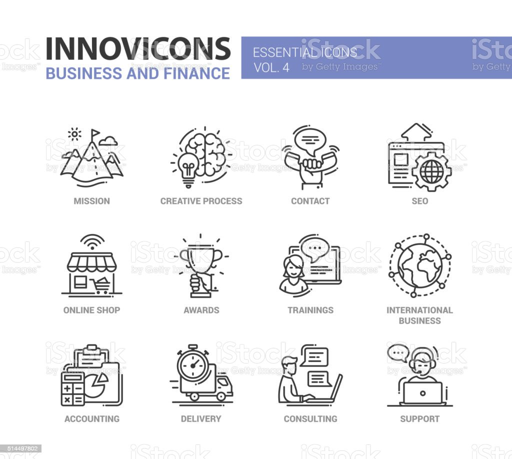 Office, business modern thin line design icons and pictograms vector art illustration