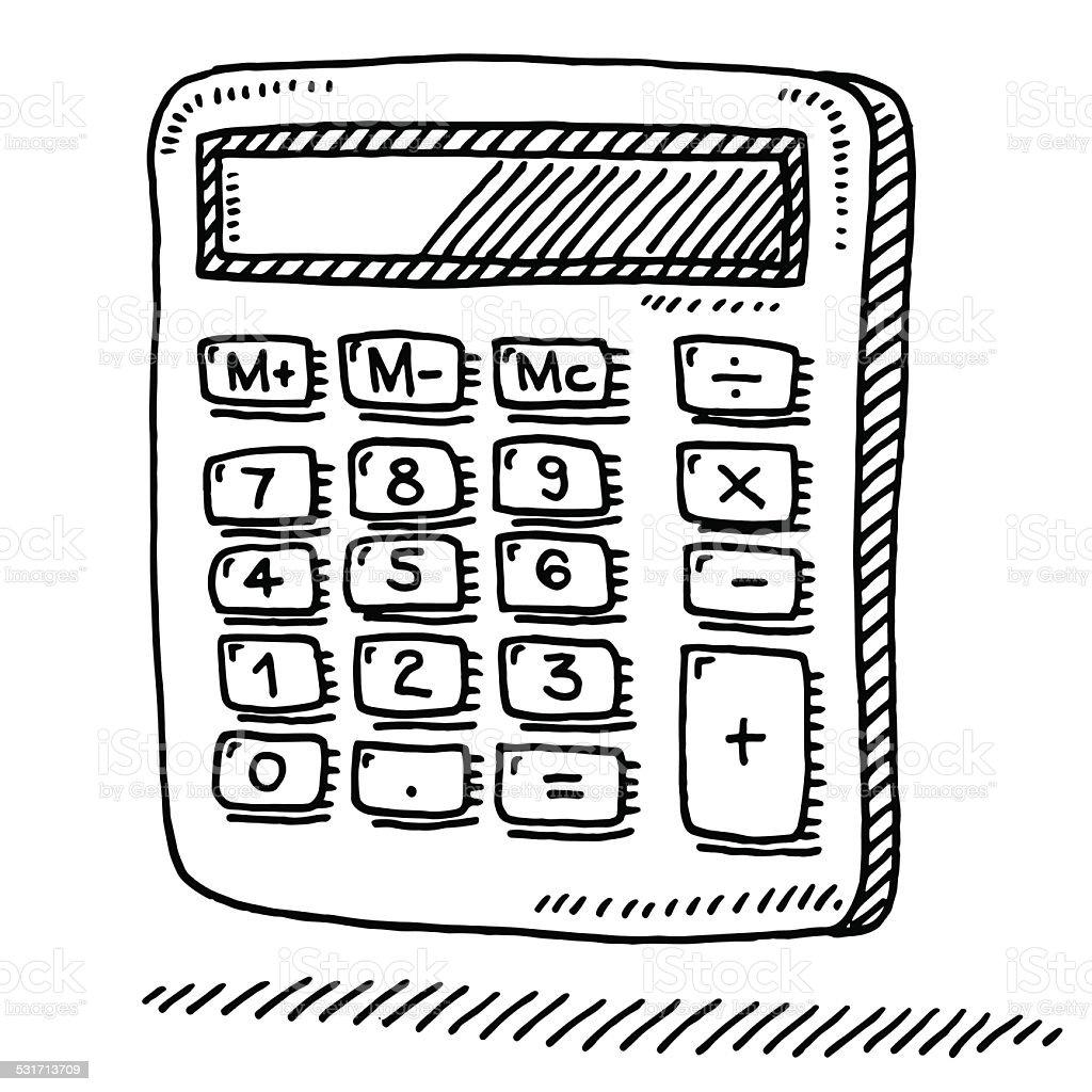 Office Calculator Drawing vector art illustration