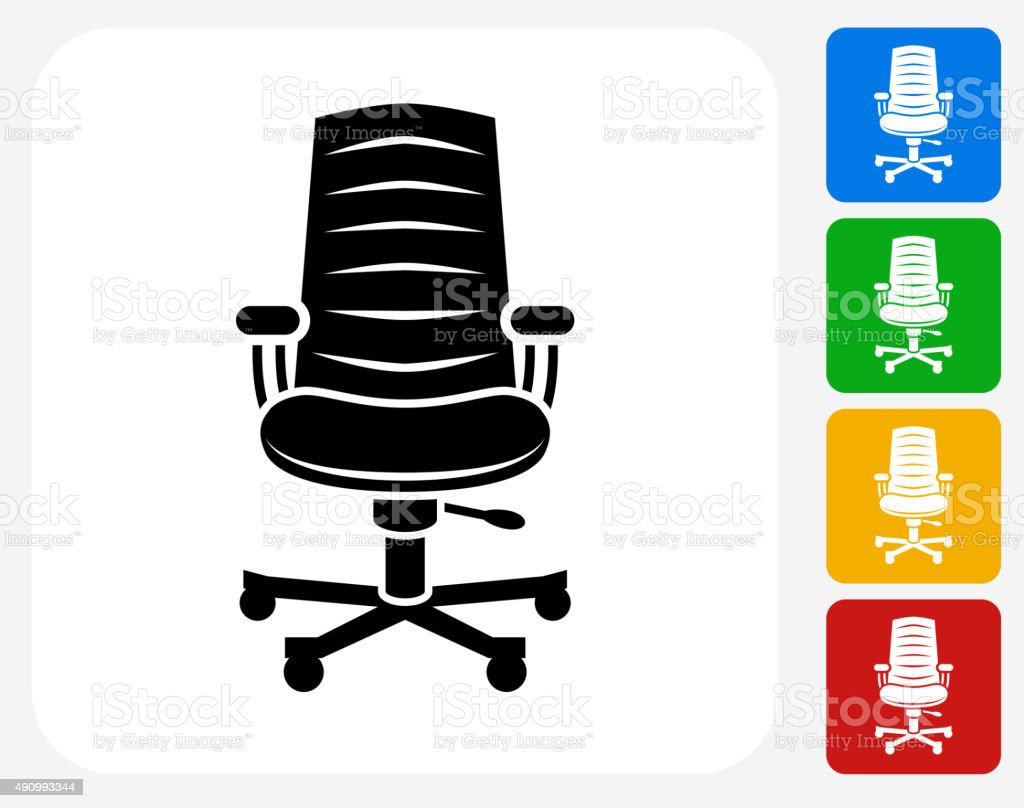 Office Chair Icon Flat Graphic Design vector art illustration