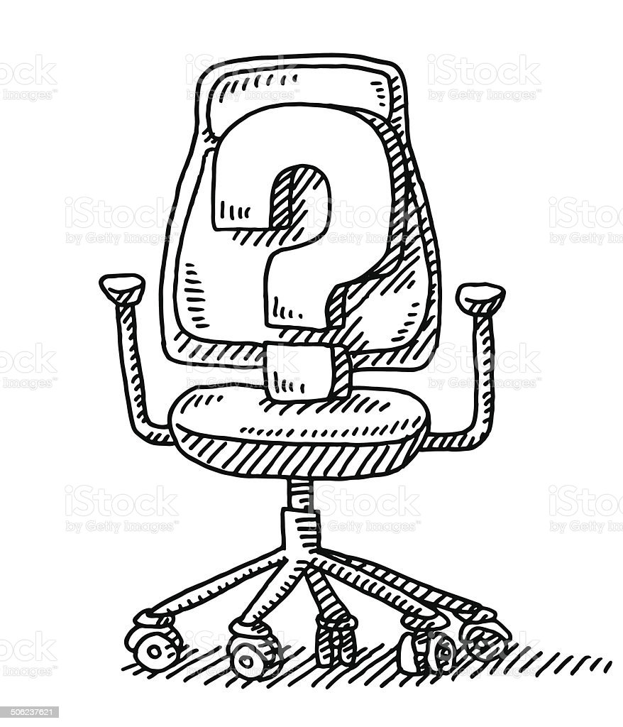Black and white chair drawing - Office Chair Question Mark Drawing Royalty Free Stock Vector Art