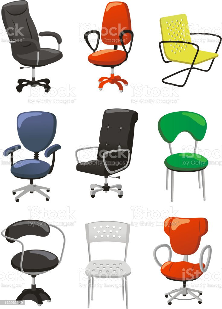 Office chair set vector art illustration