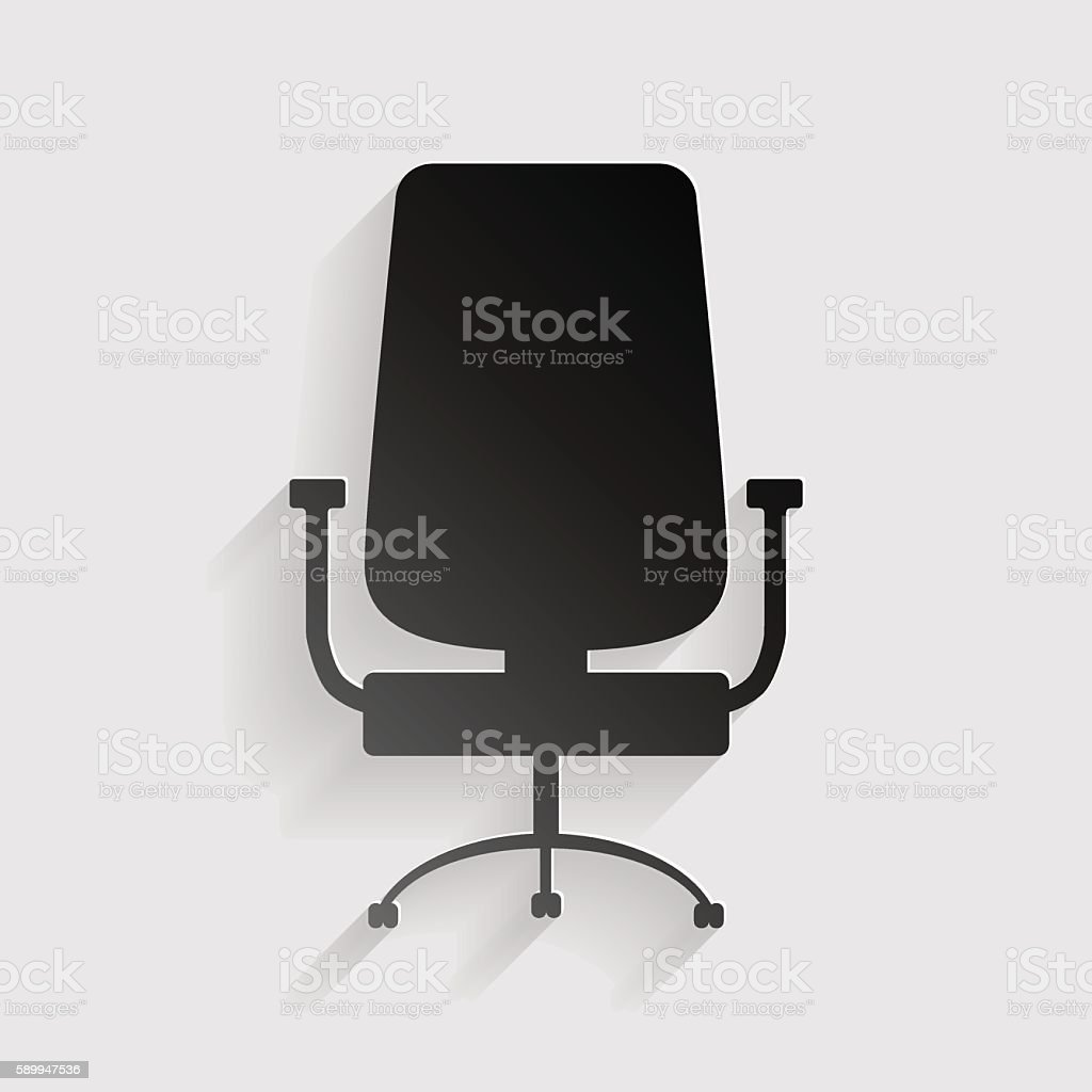 Office chair sign. Black paper with shadow on gray background. vector art illustration
