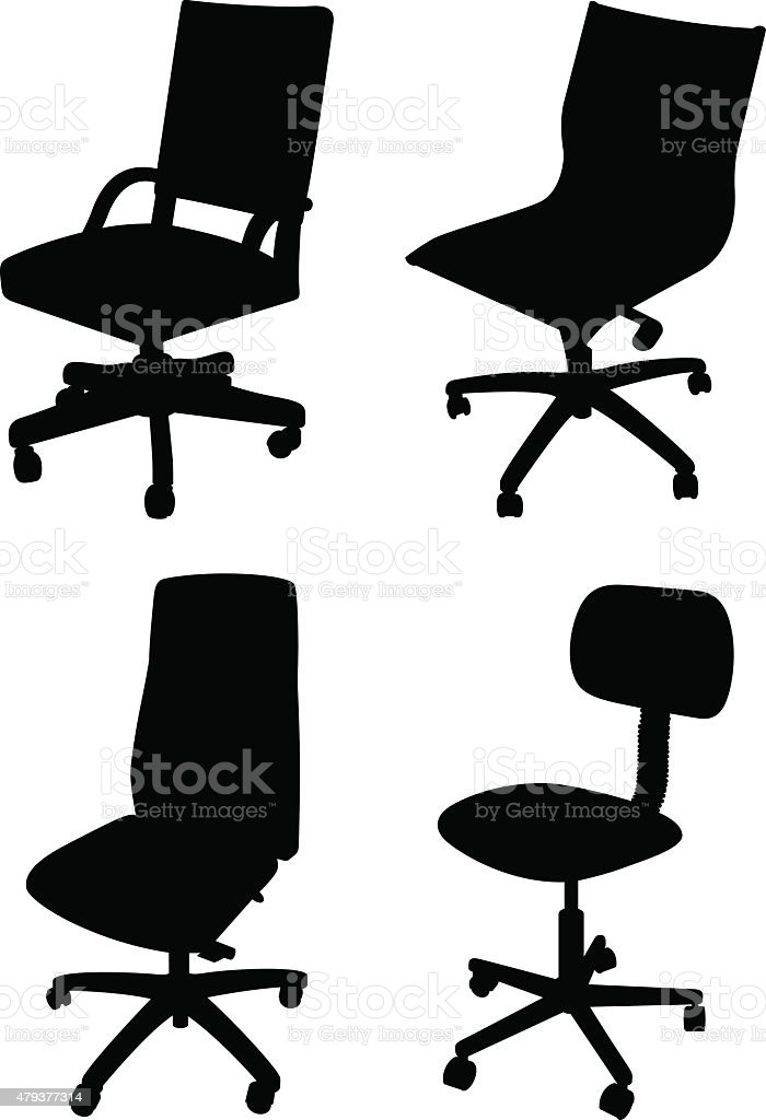 Office Chair Silhouettes vector art illustration