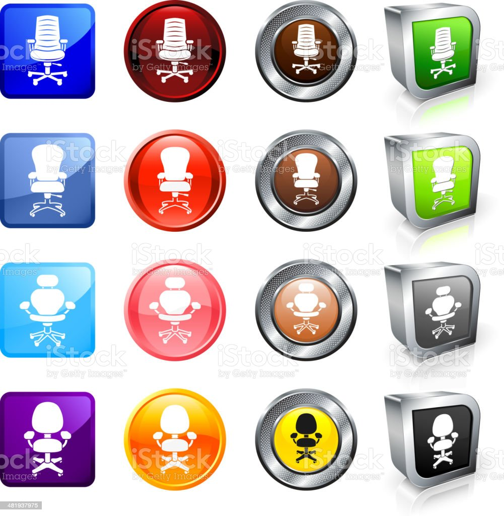 Office Chairs royalty free vector button set royalty-free stock vector art