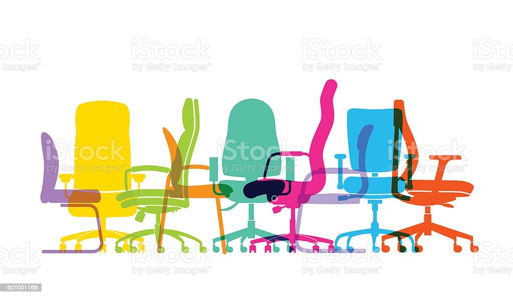 office chairs vector art illustration