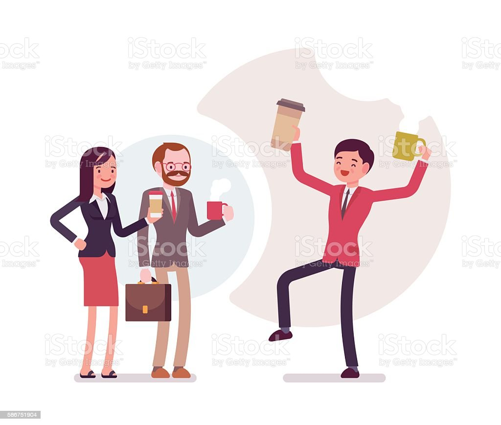 Office coffee lovers vector art illustration