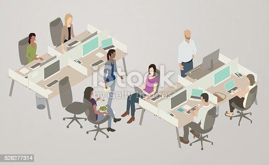 isometric office scene