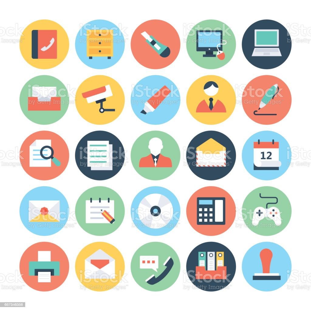 Office Colored Vector Icons 2 vector art illustration