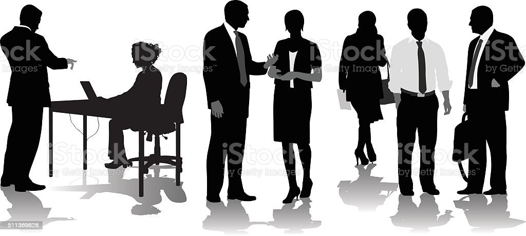 Office Coming And Going vector art illustration