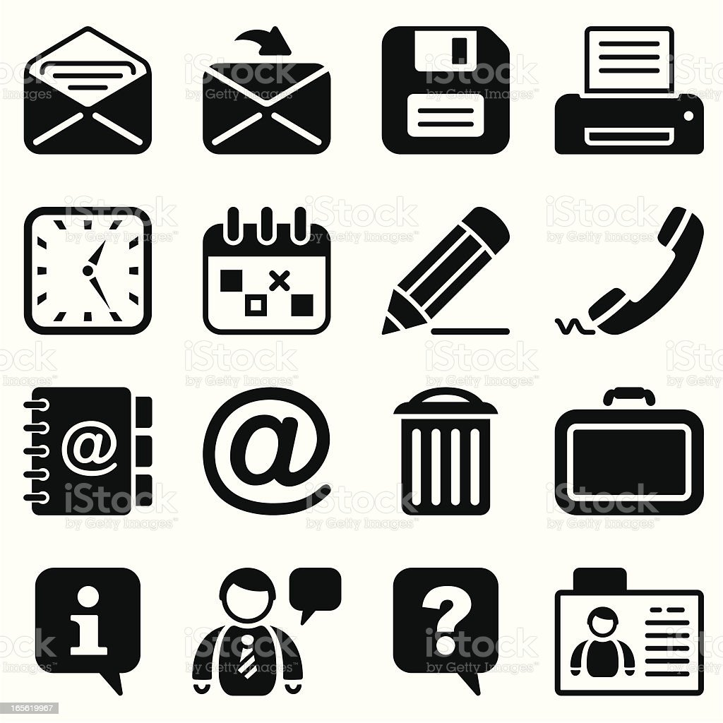 office & contacts icon set I black vector art illustration