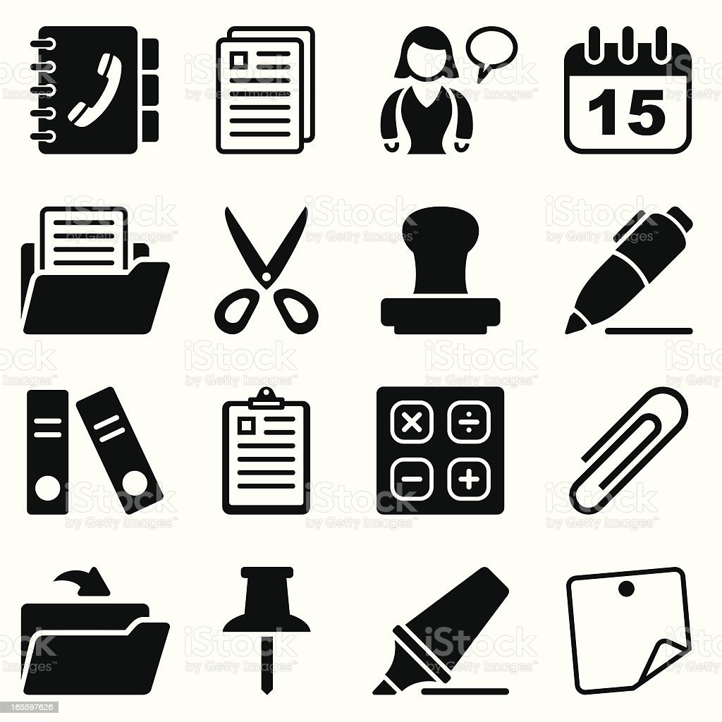 office & contacts icon set II black vector art illustration
