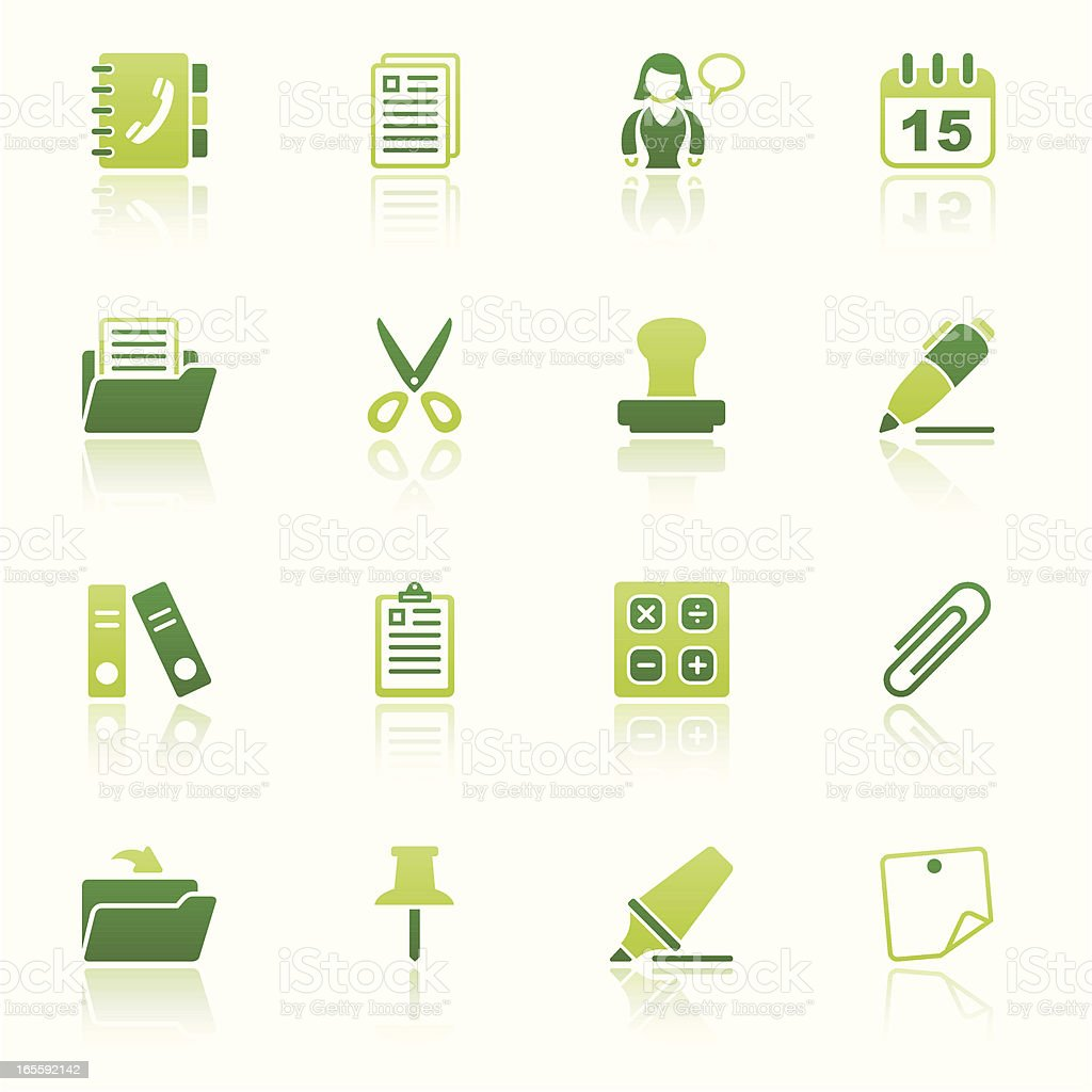 office & contacts icon set II eco reflection vector art illustration