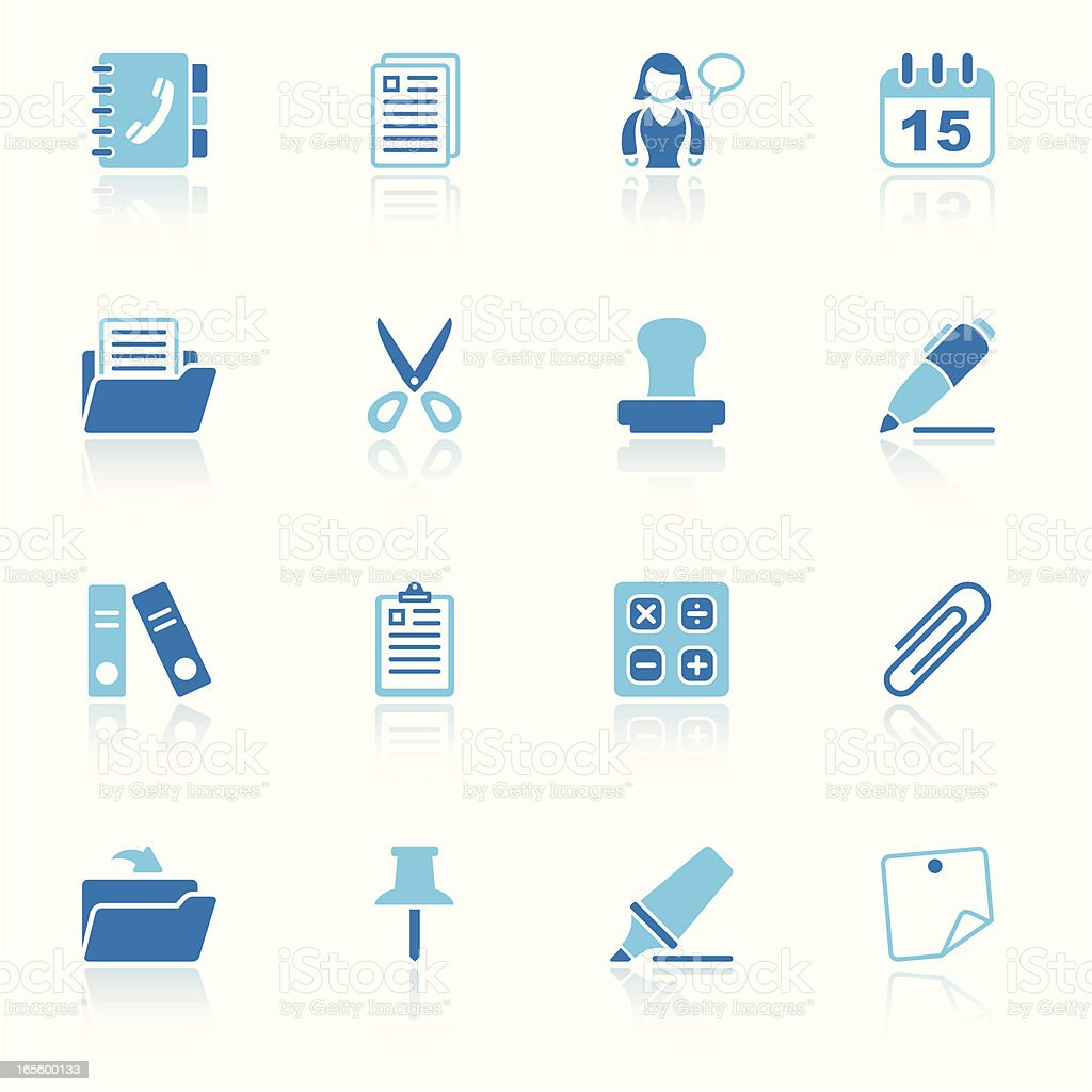 office & contacts icon set II sky reflection royalty-free stock vector art