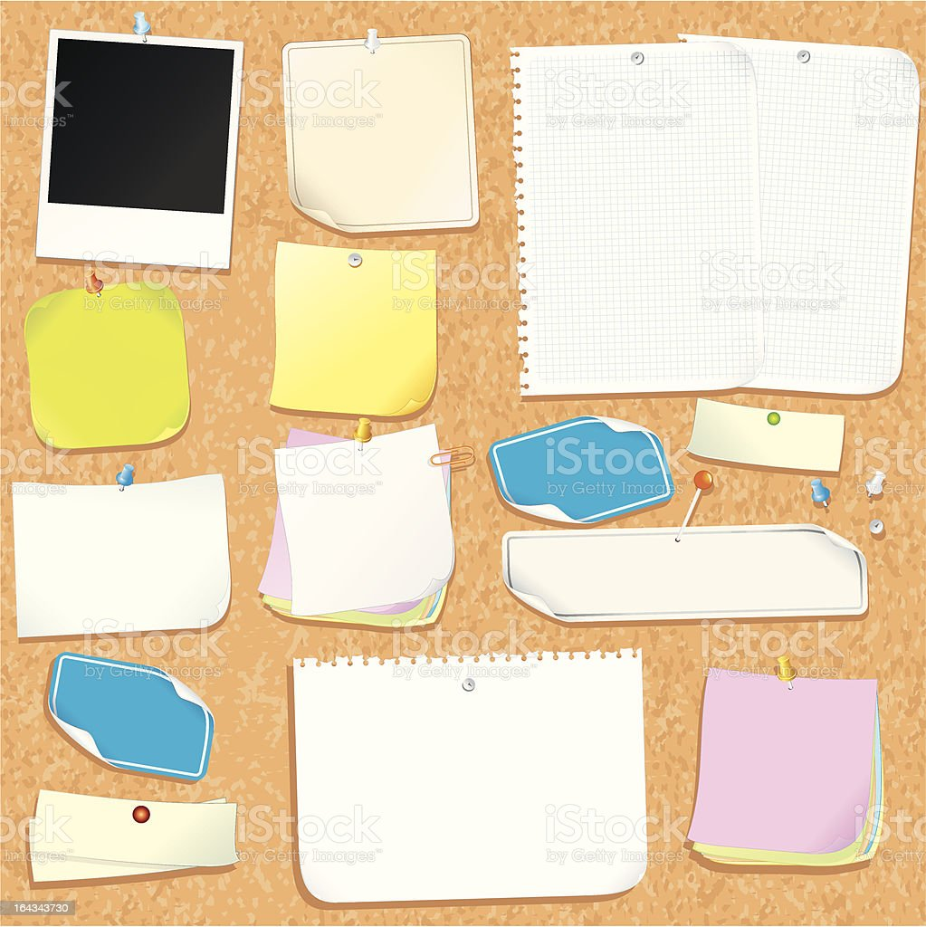 Office Cork Board with Various Blank Stickers and Adhesive Note. vector art illustration