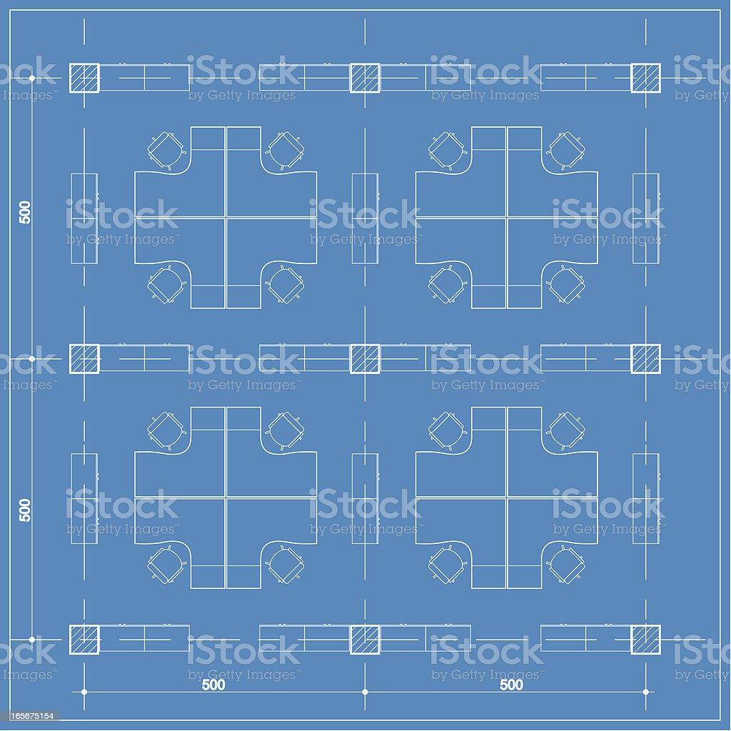 office cubicle plan blueprint royalty-free stock vector art