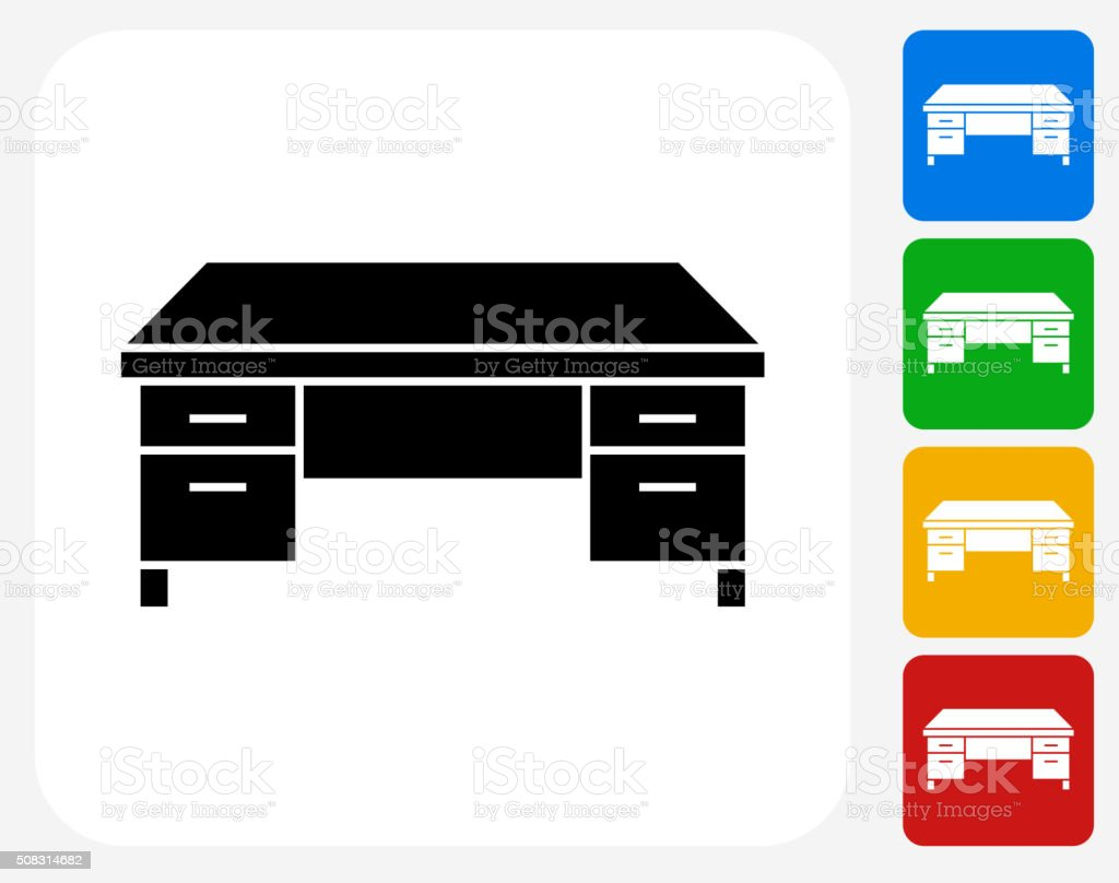 Office Desk Icon Flat Graphic Design vector art illustration