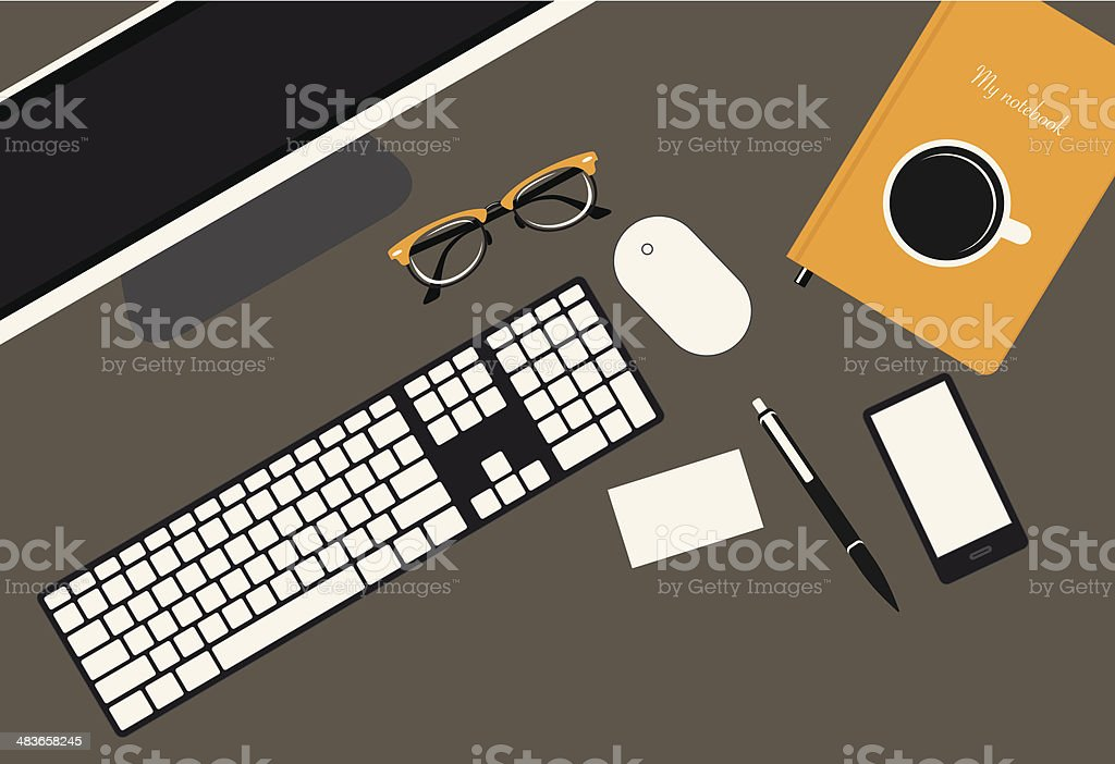 Office Desk vector art illustration