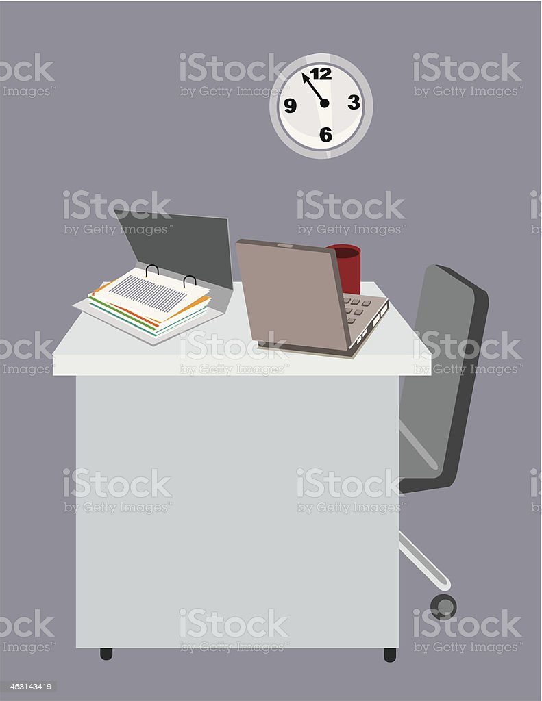 Office desk with laptop and dossiers. royalty-free stock vector art