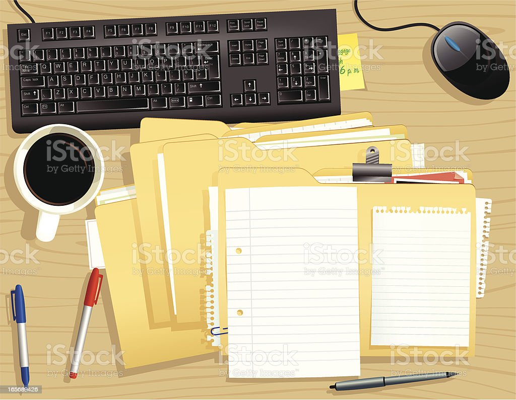 Office desktop with stack of files and keyboard vector art illustration