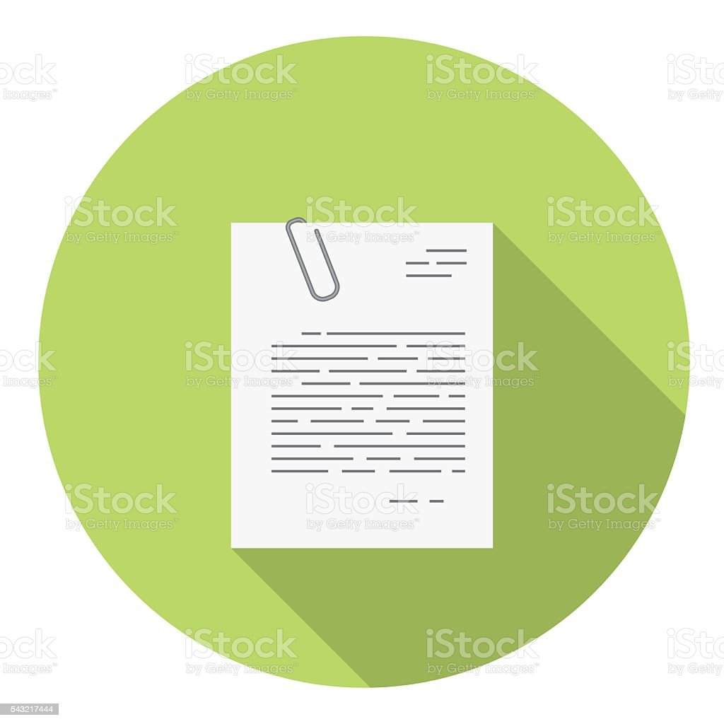 Office Document With Paper Clip Flat Icon vector art illustration