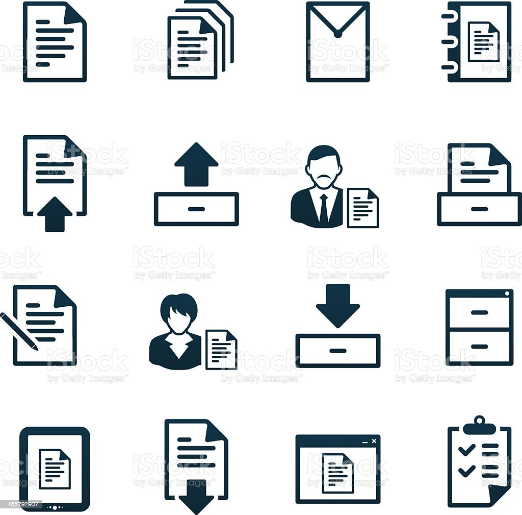 Office Documents Icons | black series royalty-free stock vector art