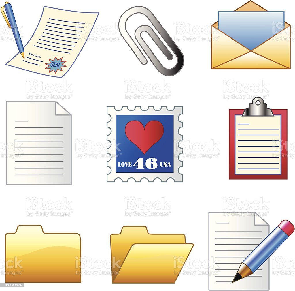 office documents icons royalty-free stock vector art