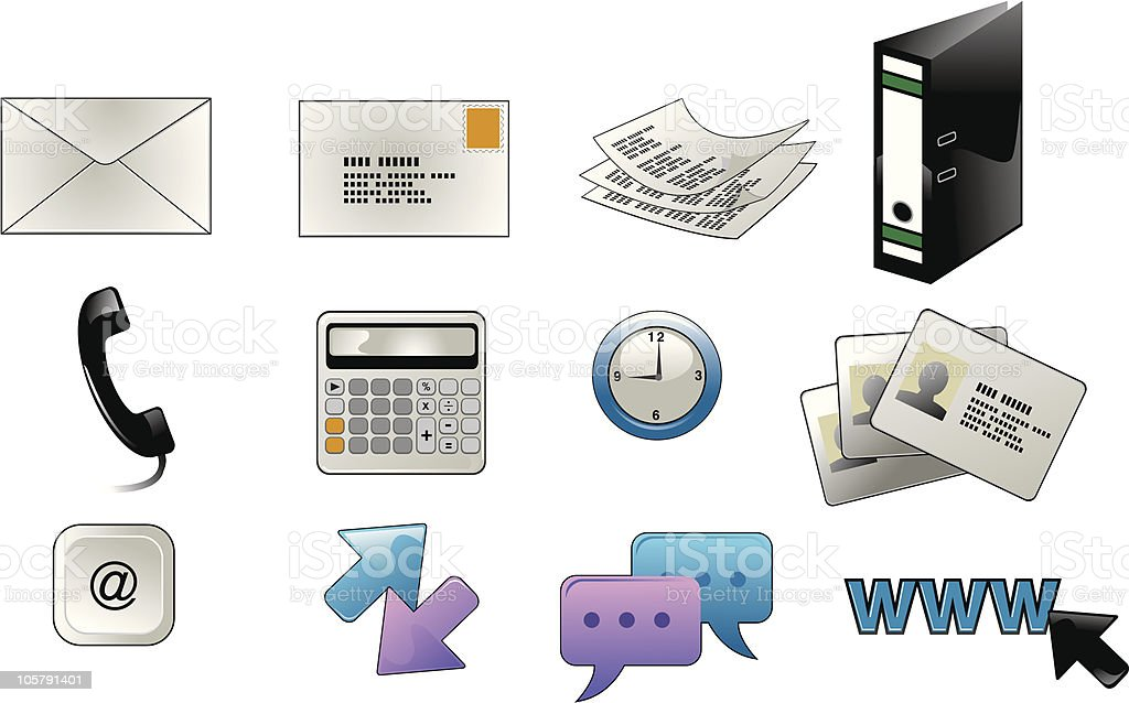 Office element icons royalty-free stock vector art