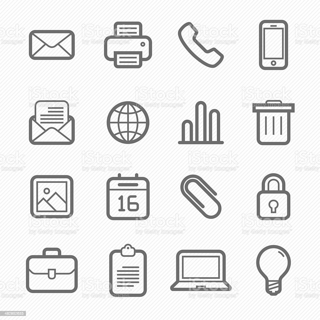 office elements symbol line icon set vector art illustration