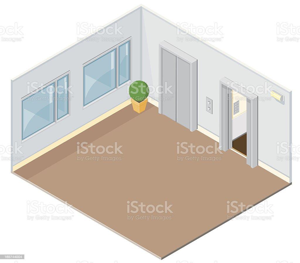 Office Elevators vector art illustration
