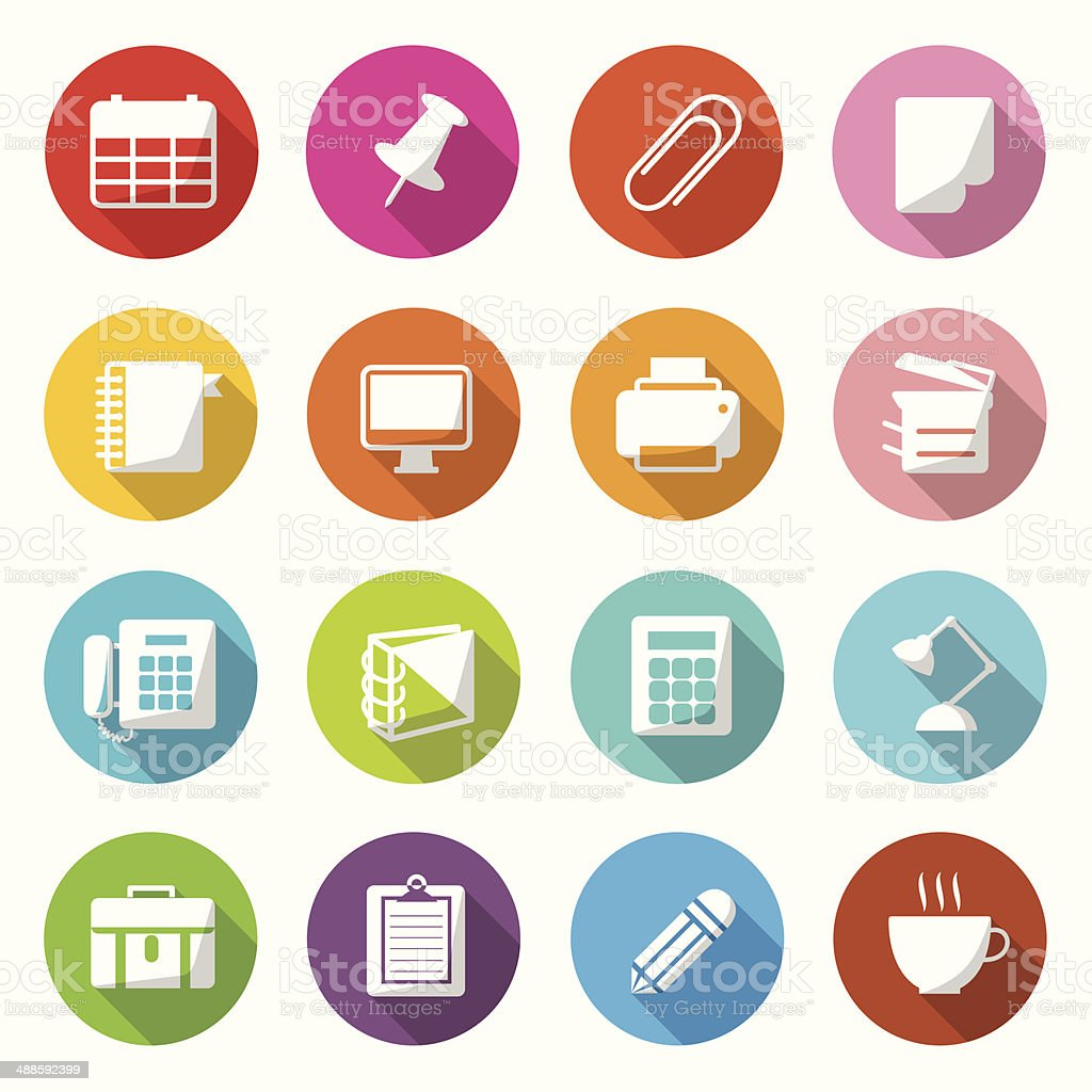 Office Equipment Circle Colorful Icons Vector. vector art illustration