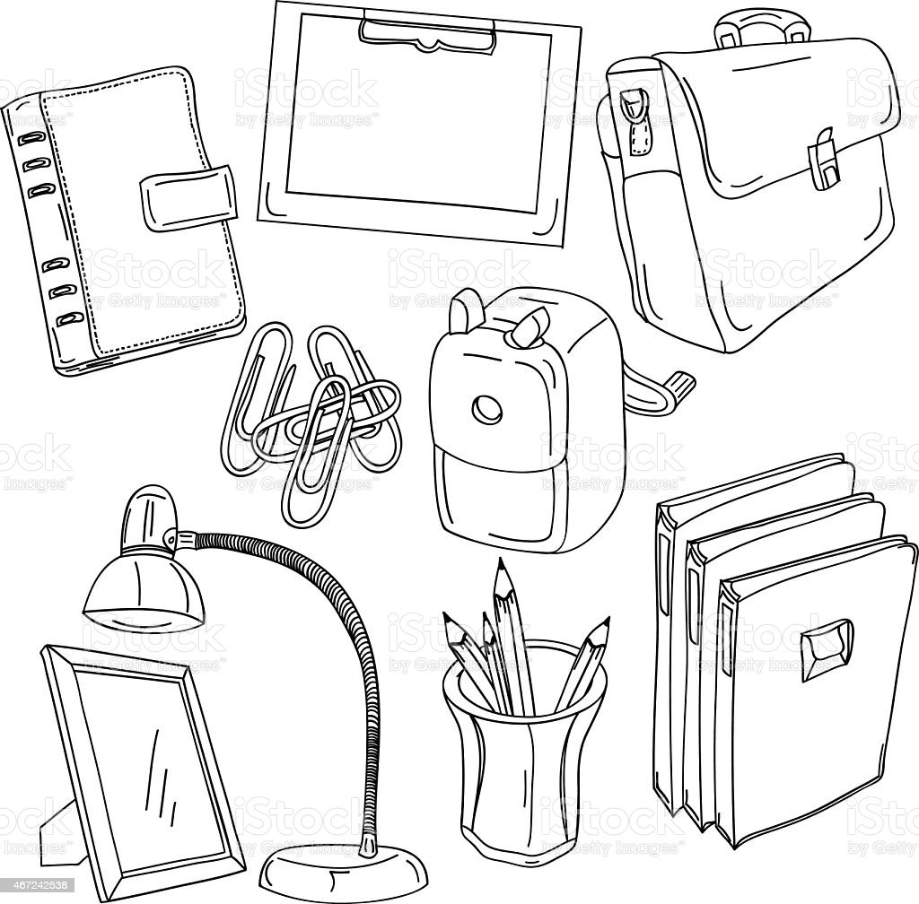 Office Equipment Collection vector art illustration