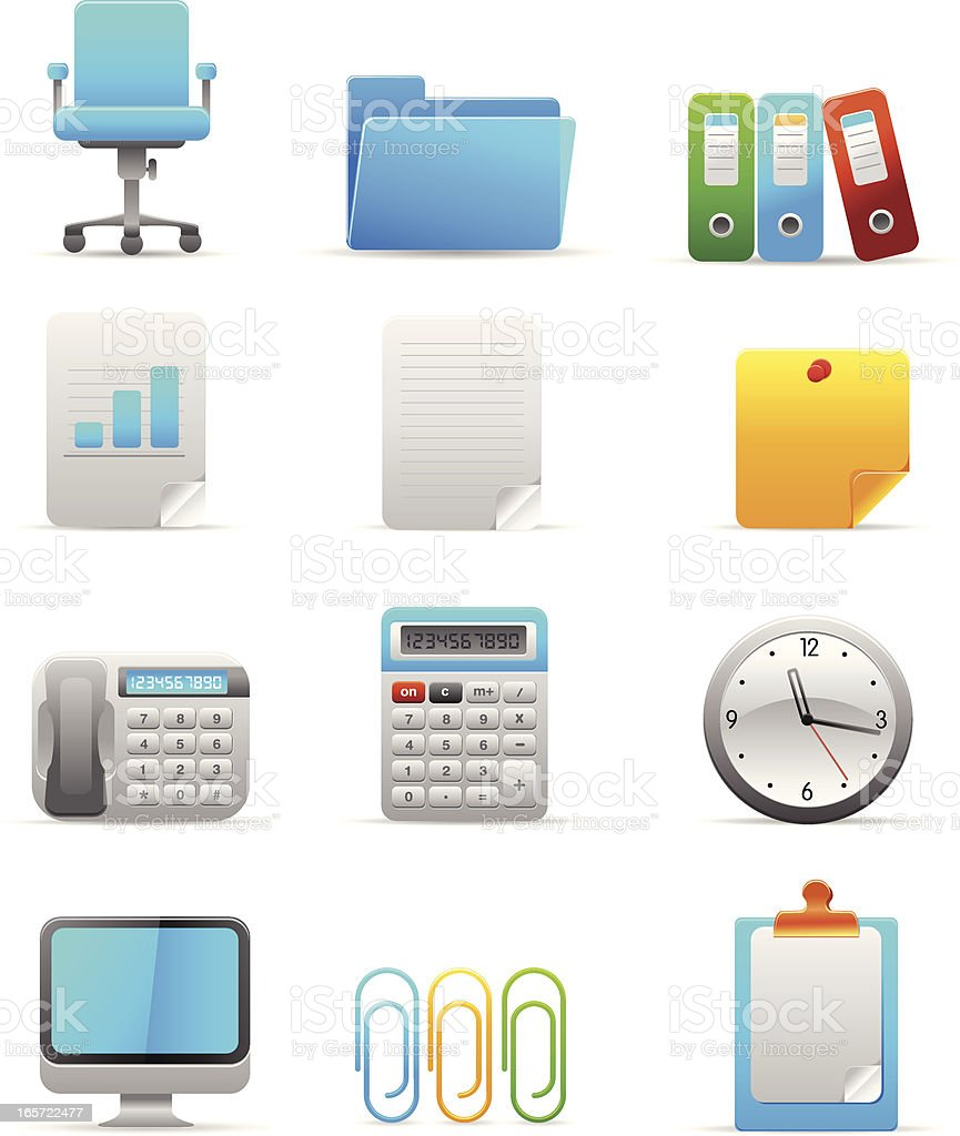Office equipment icons royalty-free stock vector art