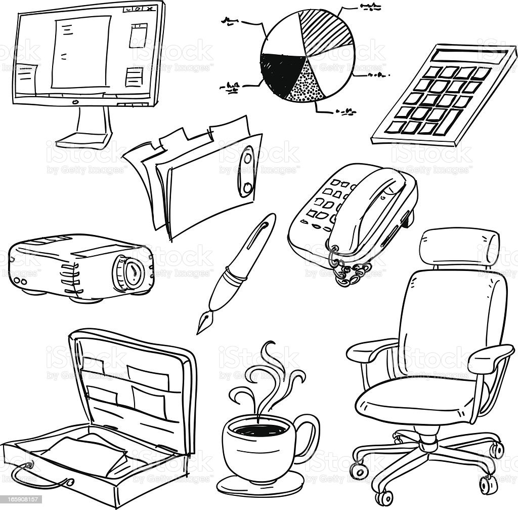 Office equipment in black and white royalty-free stock vector art