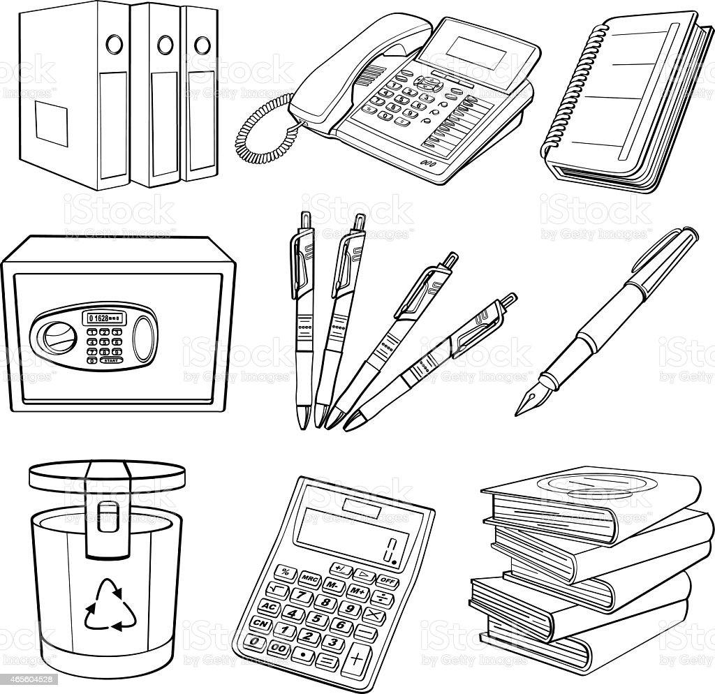 Office Equipment vector art illustration