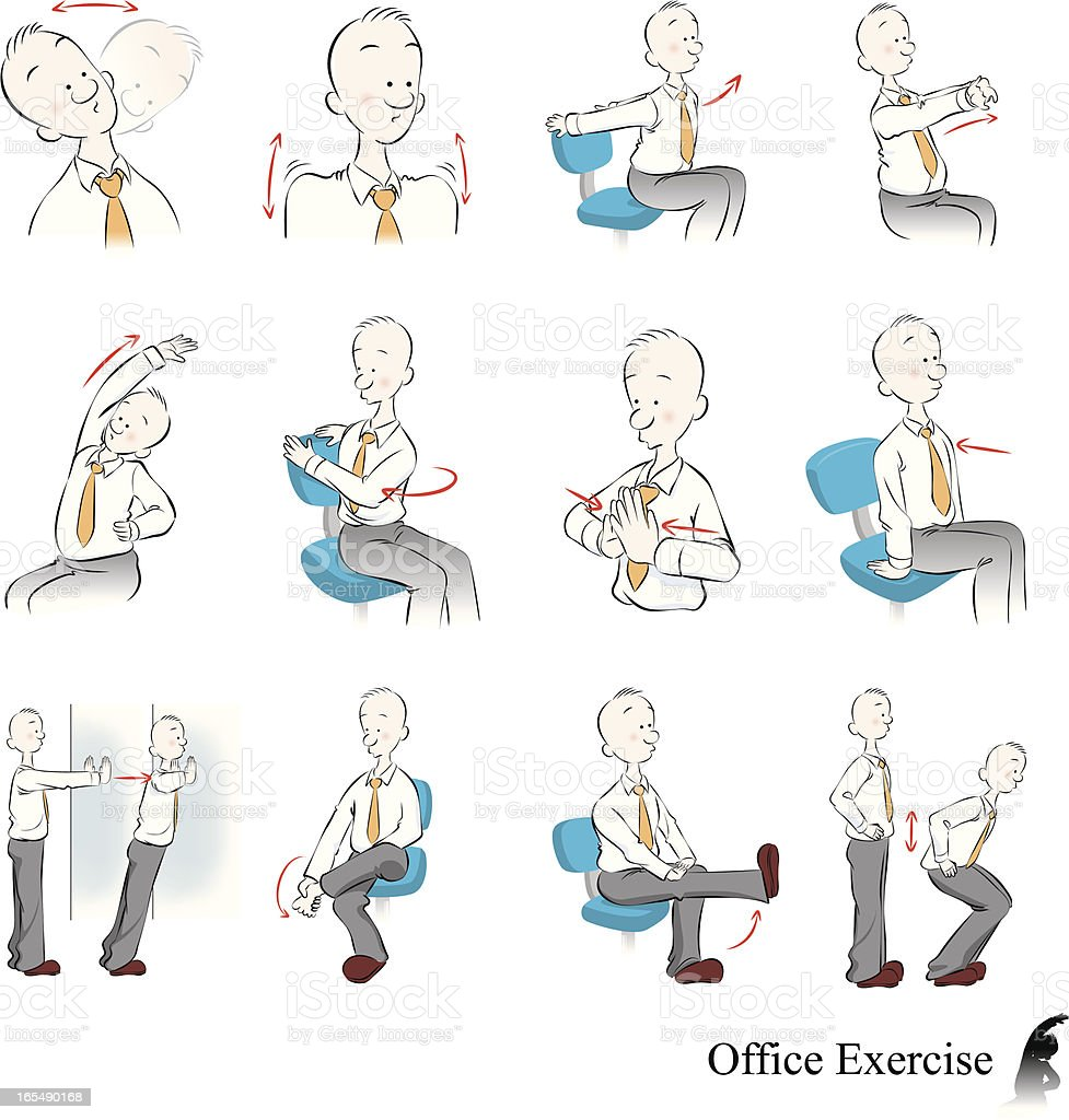 Office Exercise vector art illustration