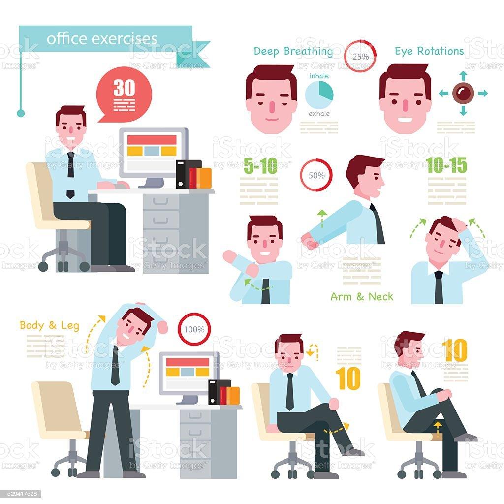 Office Exercises vector art illustration
