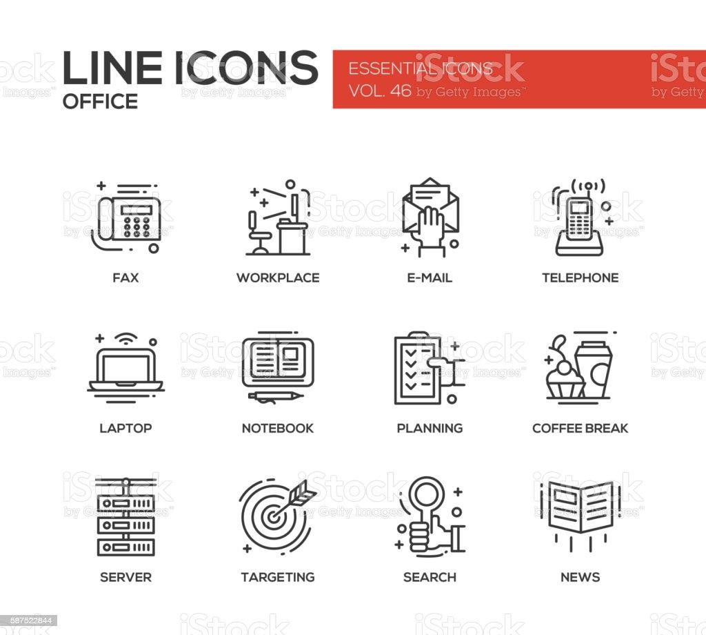 Office - flat design line icons set vector art illustration