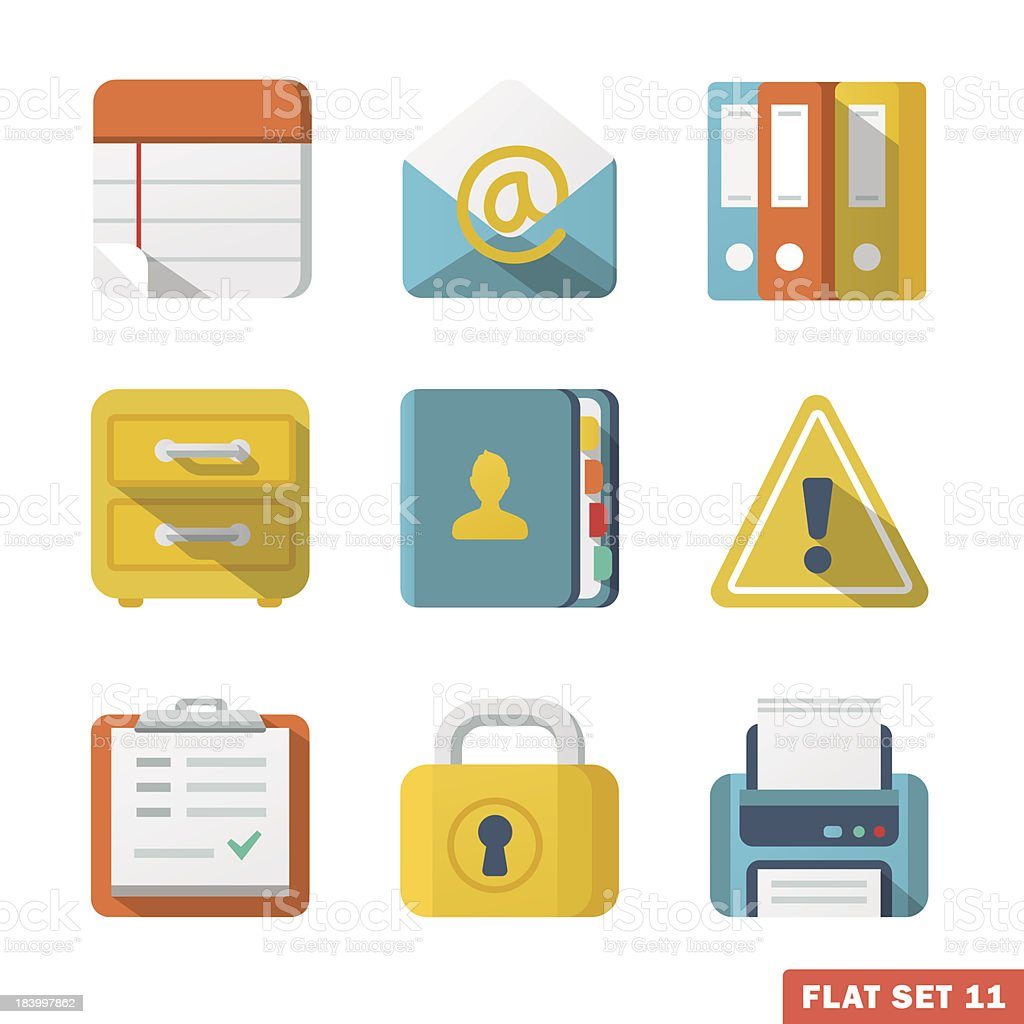 Office Flat icons royalty-free stock vector art