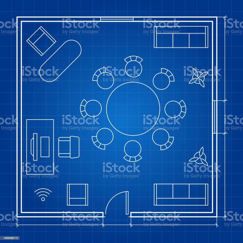 Office floor plan with linear vector symbols. Conference business outline vector art illustration