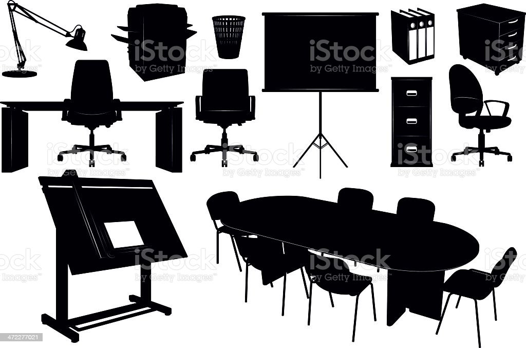 Office Furniture Silhouettes vector art illustration