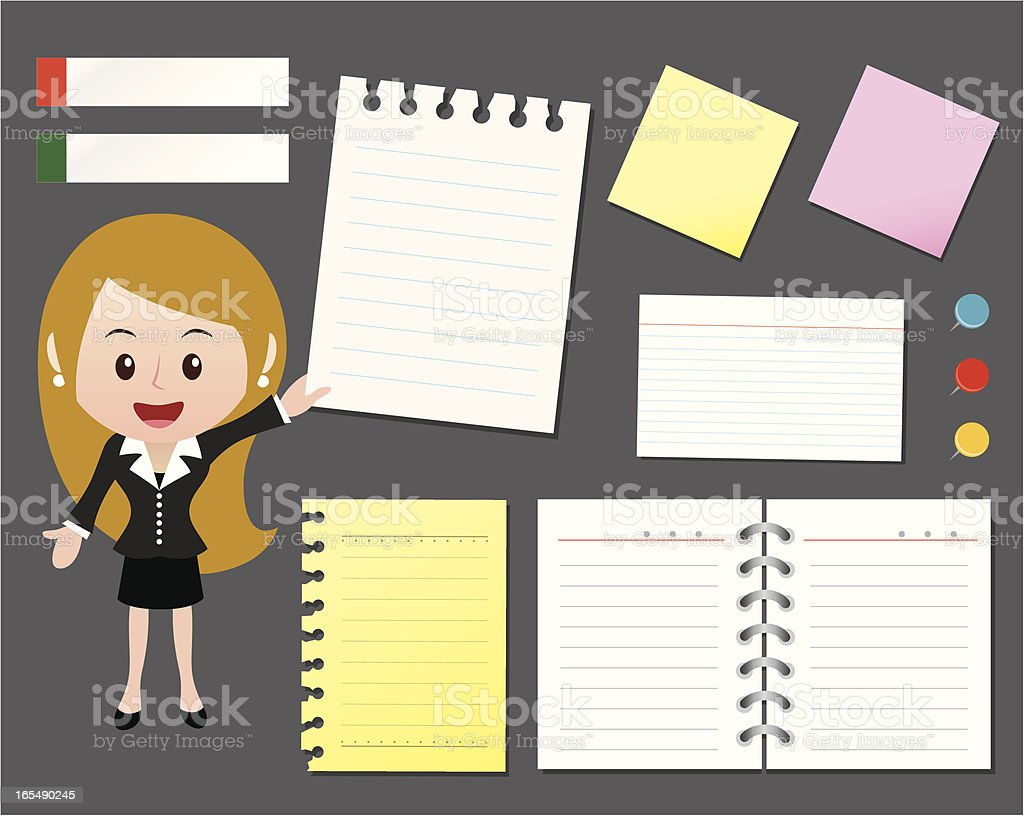 office girl with papers royalty-free stock vector art